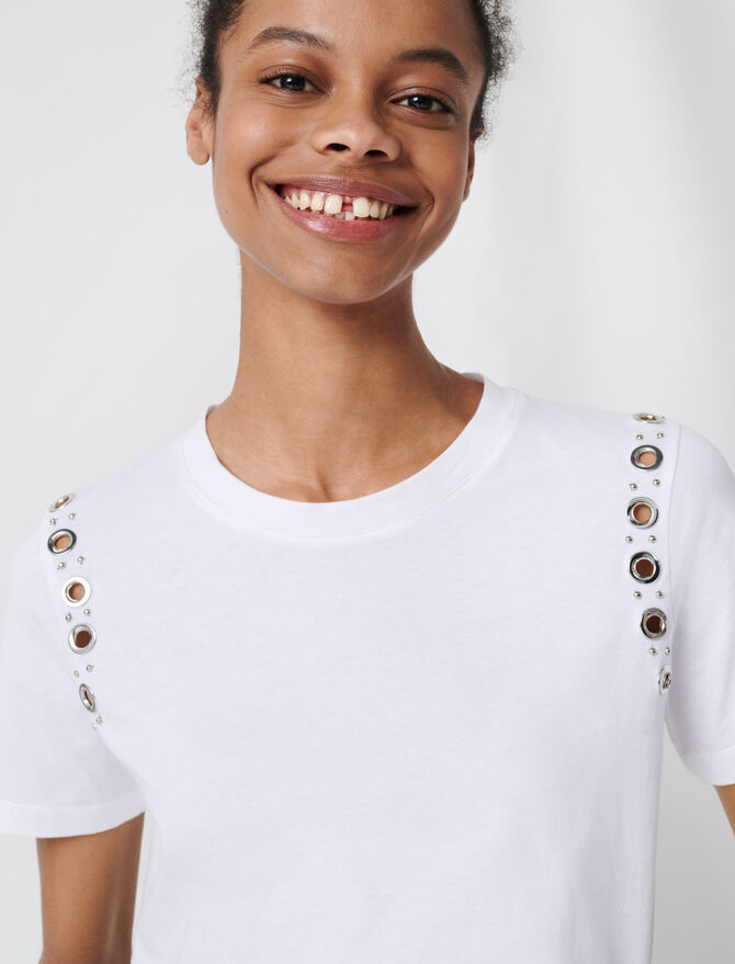 White T-shirt with rock eyelets - Ver Todo - MAJE