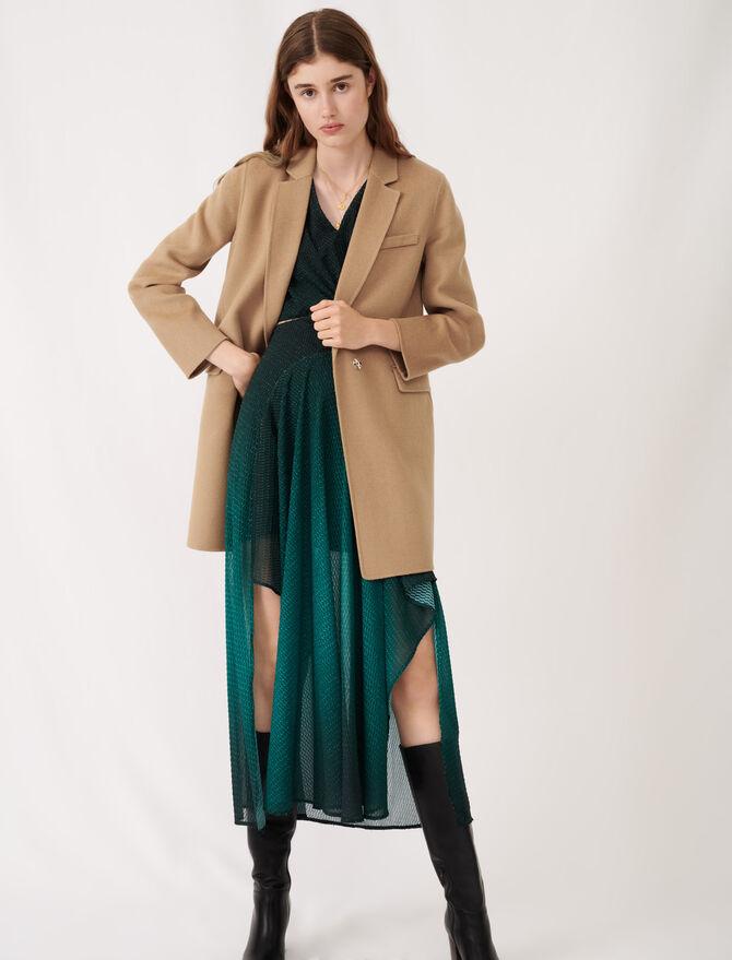 Abrigo camel de doble cara tipo chaqueta - Ecorresponsable - MAJE