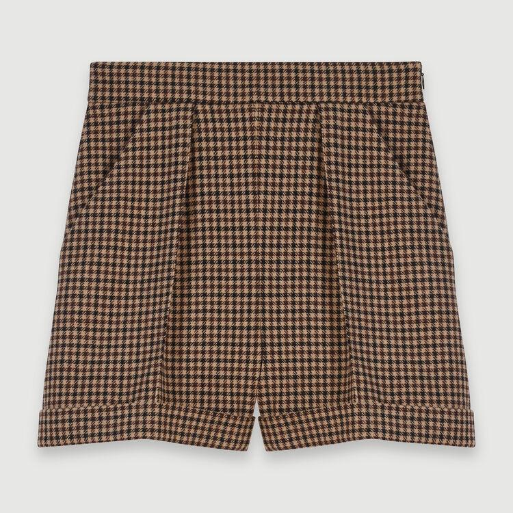 Short de cuadros con pliegue y vuelta : Faldas y shorts color Marrón