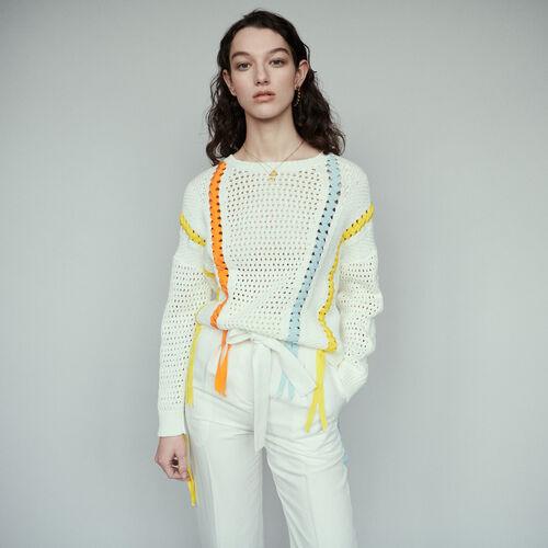 Jersey de punto fantasía con lazo : Malla color ECRU