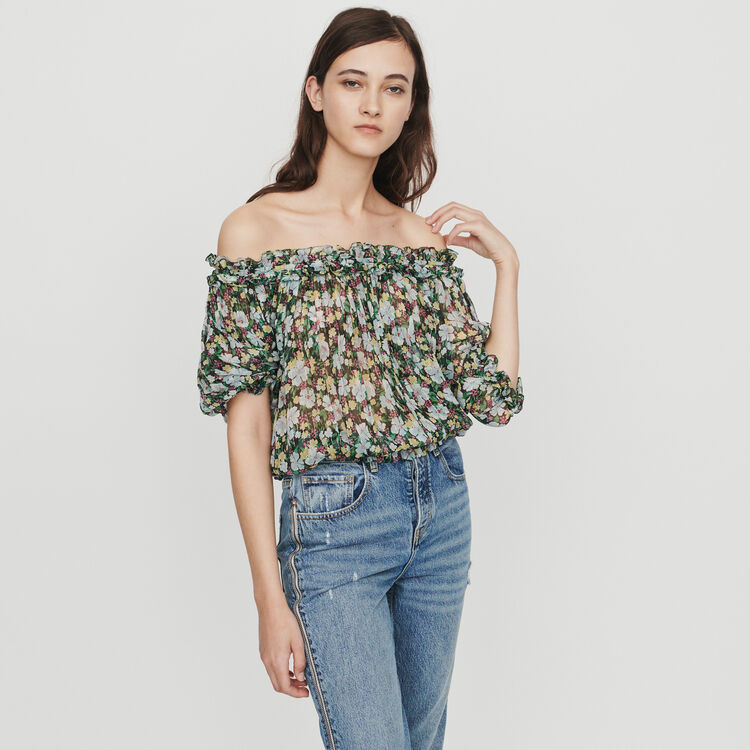 Top fruncido estampado floral : Tops y Camisas color IMPRIME