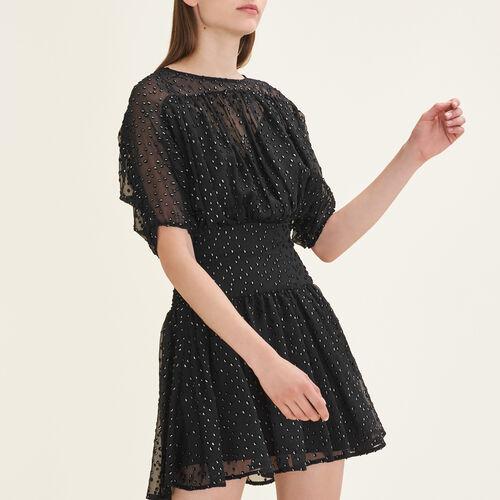 Vestido con flocado : Vestidos color Negro