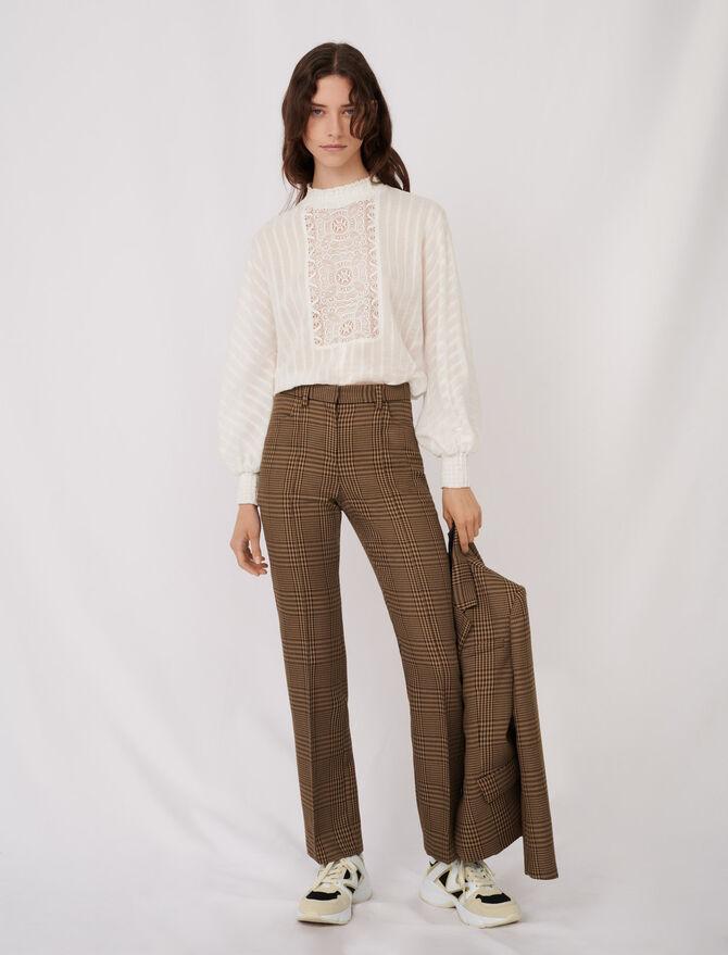 Pantalón recto de cuadros - Pantalones y Jeans - MAJE