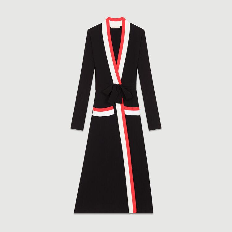 Vestido largo cruzado en malla : Vestidos color Negro