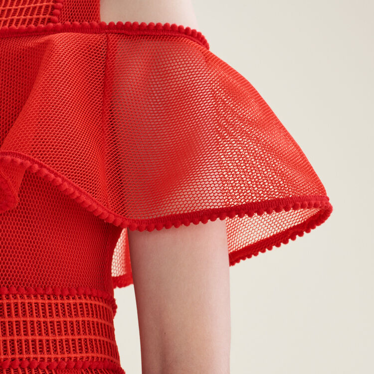 Vestido sin mangas de punto de malla : Vestidos color Rojo