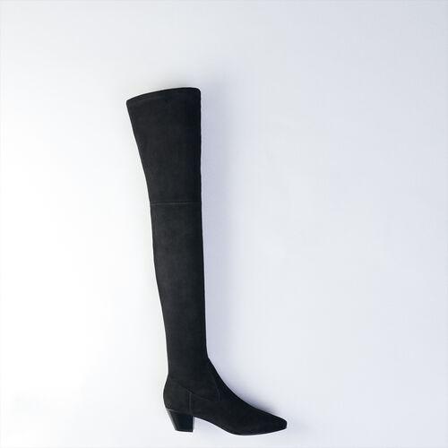 Botas altas de cuero de cabra : Botas y Botines color Negro