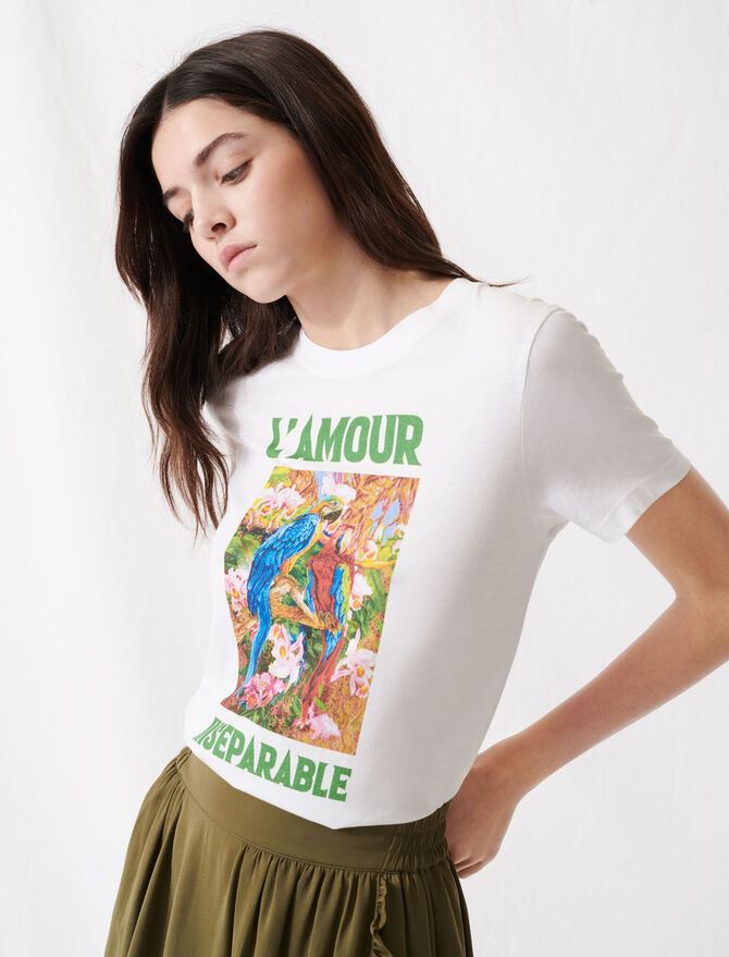 Camiseta blanca serigrafiada - T-Shirts - MAJE