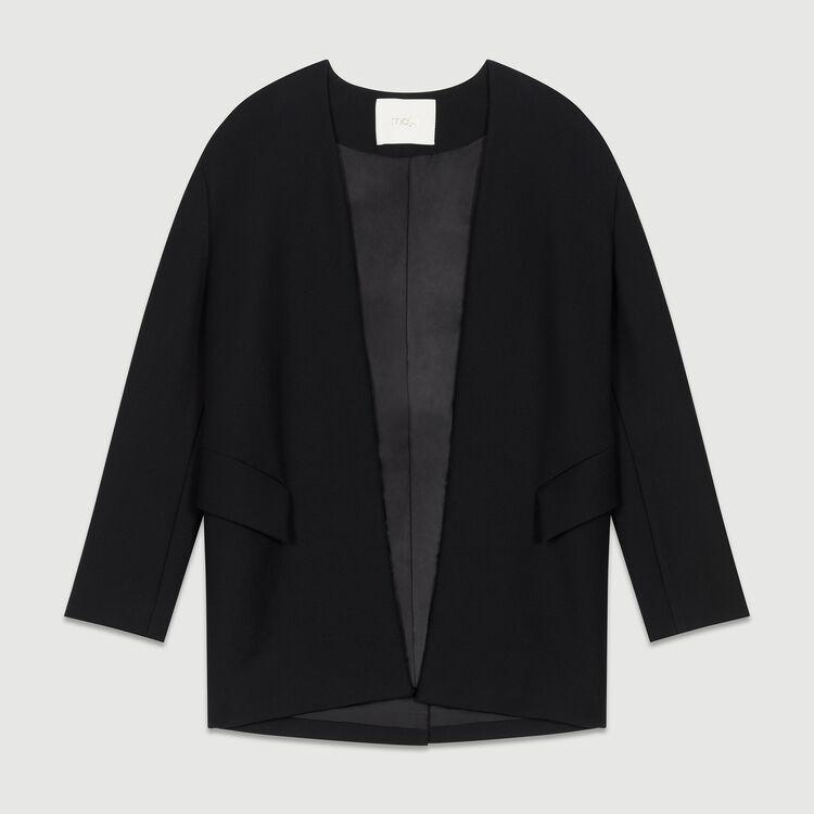 Chaqueta de vestir sin cuello : Chaquetas color Negro