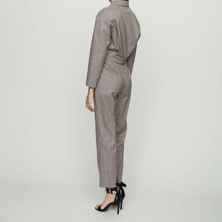 Mono-pantalón de cuadros ceñido : Pantalones color CARREAUX