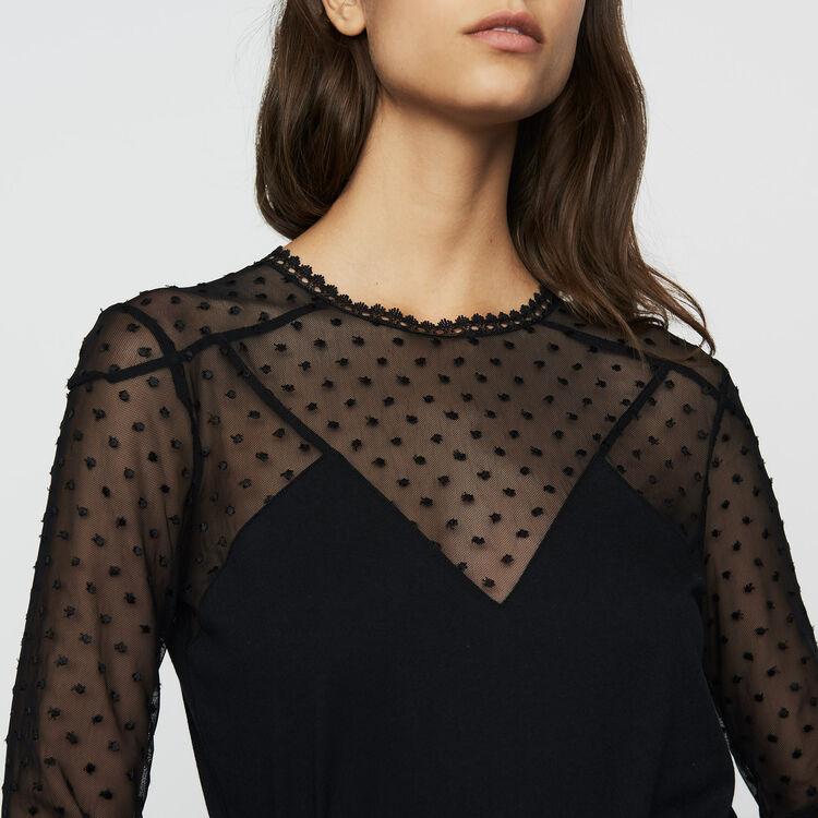 Camiseta de algodón y plumetis : T-Shirts color Negro