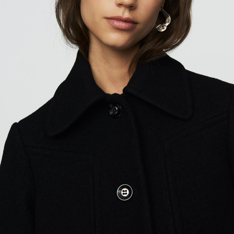 Abrigo trapecio en lana : Abrigos color Negro