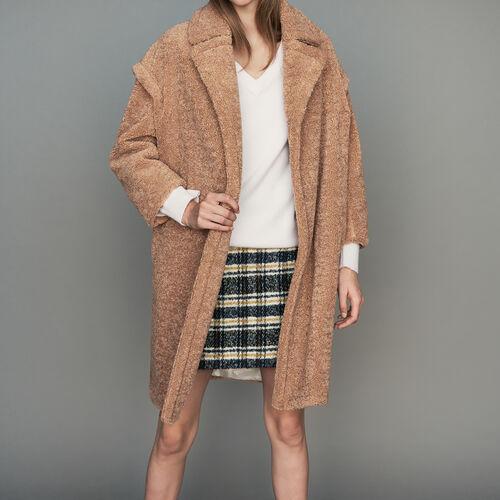Abrigo oversize tipo piel de oveja : Abrigos color Camel
