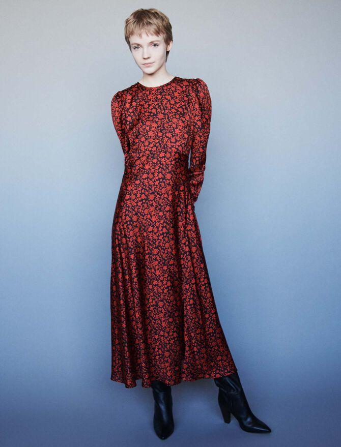 Vestido de raso estampado - -30% - MAJE