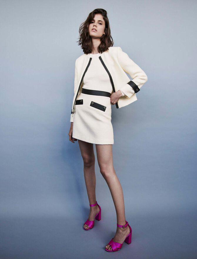 Falda recta tipo tweed a contraste - Faldas y shorts - MAJE