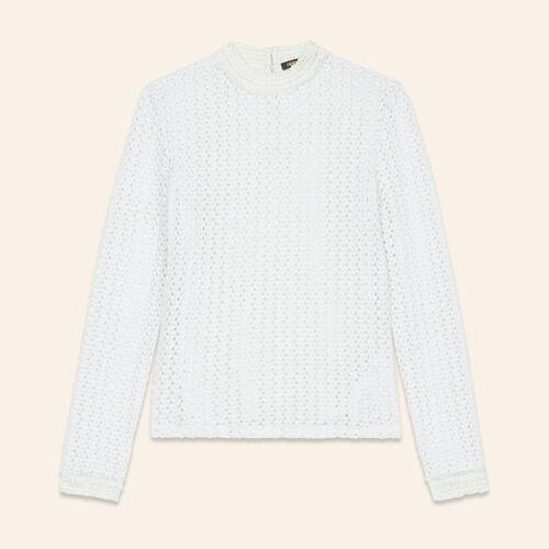 Top con mezcla de bordado : Tops color Blanco