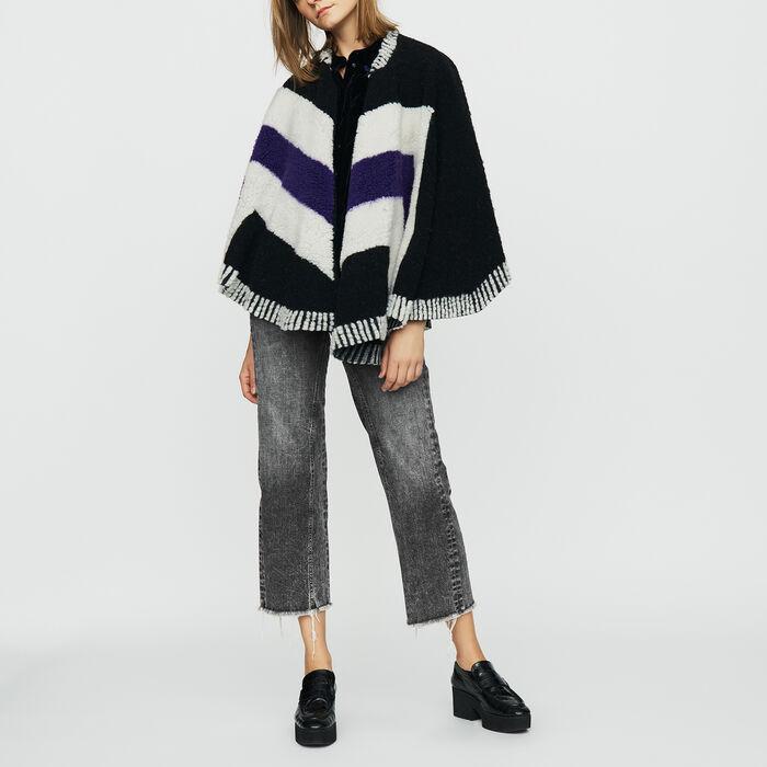 Poncho de piel de cordero vuelta : Malla color Negro