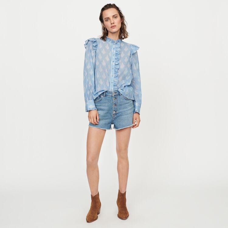 Top avolantado estampado velo de algodón : Tops y Camisas color Azul