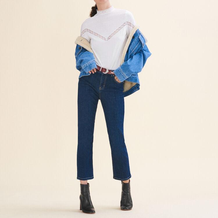 Vaquero 7/8 de algodón stretch : Pantalones y vaqueros color Azul
