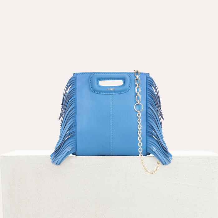 Mini bolso M de cuero con flecos : M Mini color Azul