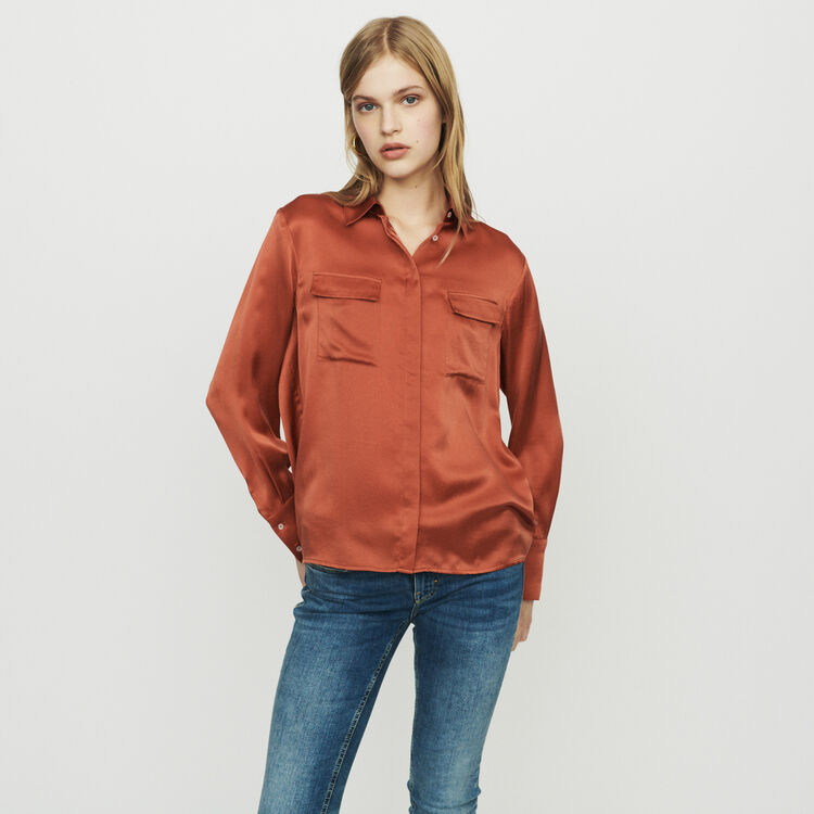 Camisa satinada de seda : Tops y Camisas color Terracota