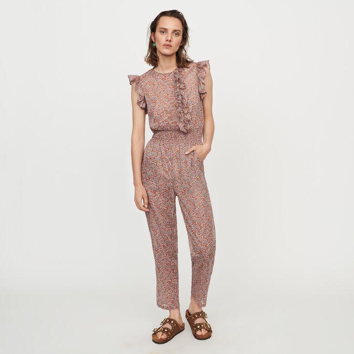 Mono pantalón floral en velo de algordón : Pantalones y Jeans color Terracota