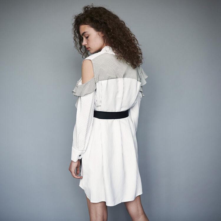 Vestido camisero a rayas avolantado : Vestidos color Blanco/Negro