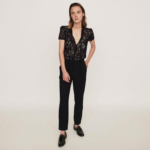 Mono pantalón de guipur y crepé : Colección invierno color Negro