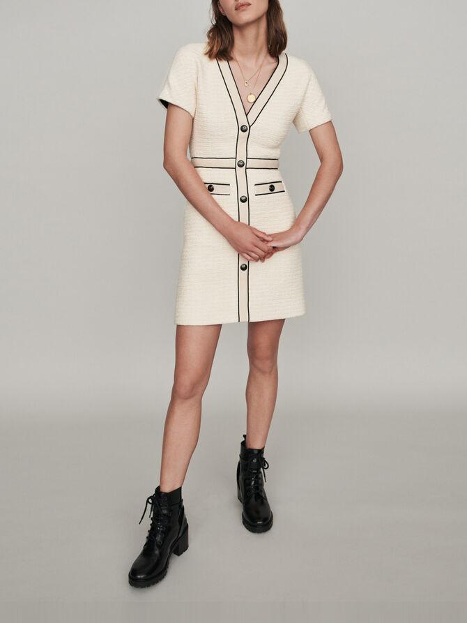 Vestido tipo tweed a contraste - Vestidos - MAJE