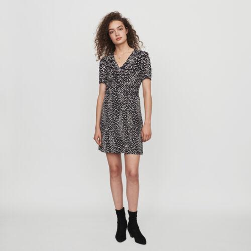 Vestido fruncido estampado en Jacquard : Colección invierno color Negro
