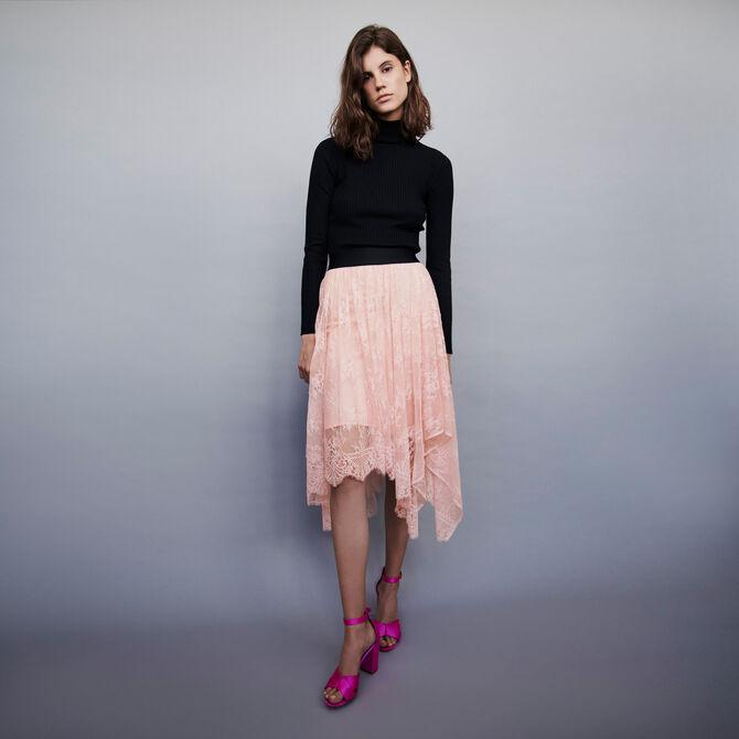 Falda elástica asimétrica con encaje - staff private sale 20 - MAJE