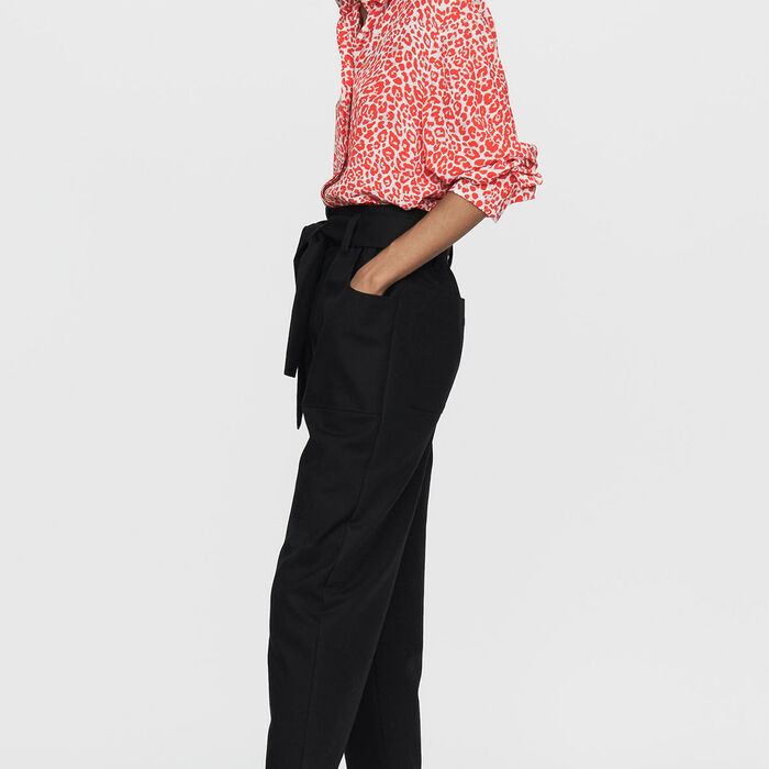 Pantalón ancho de tíro alto : Prêt-à-porter color Negro