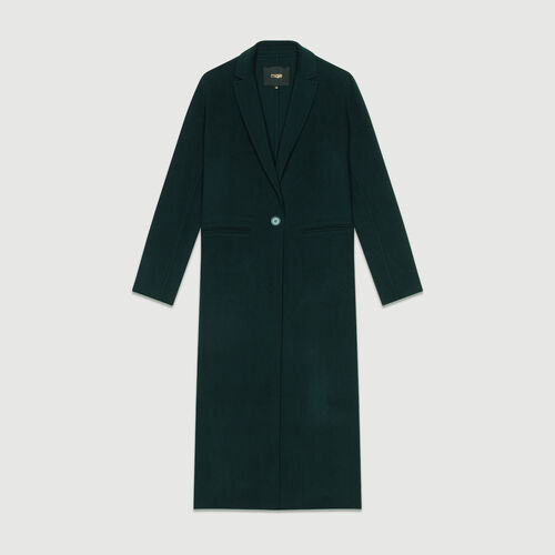 Abrigo largo de lana doble faz : Abrigos color VERT