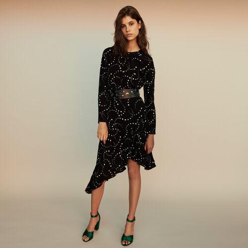 Vestido asimétrico estampado en crepé : Colección invierno color Negro
