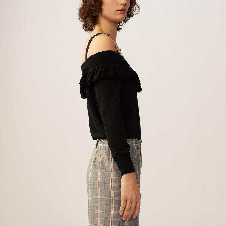 Jersey fino con ombros desnudos : Malla color Negro
