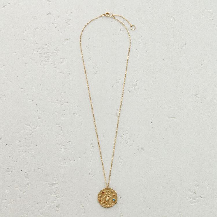 Collar de signo del Zodíaco Acuario : Medallones color OR