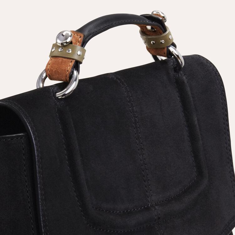Bolso minicartera de ante bicolor : Bolsos color Negro