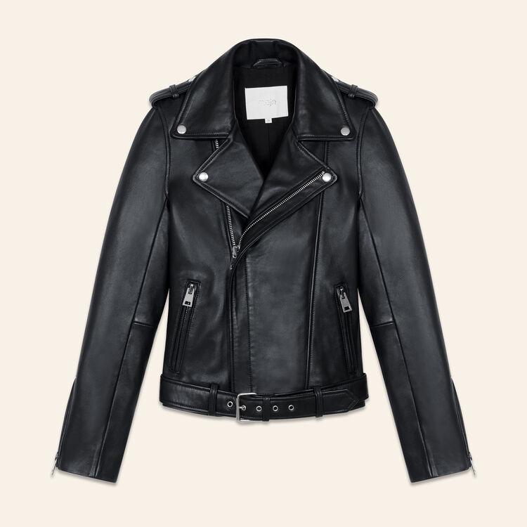 Chaqueta de cuero Bubble con cinturón : Tartan color Negro