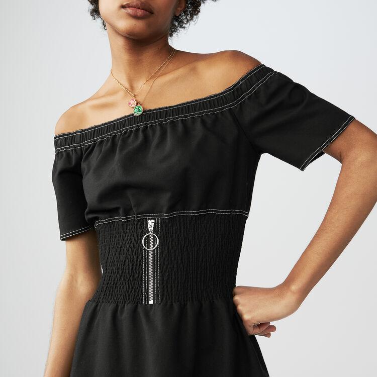 Vestido fruncido con hombros : Vestidos color Negro