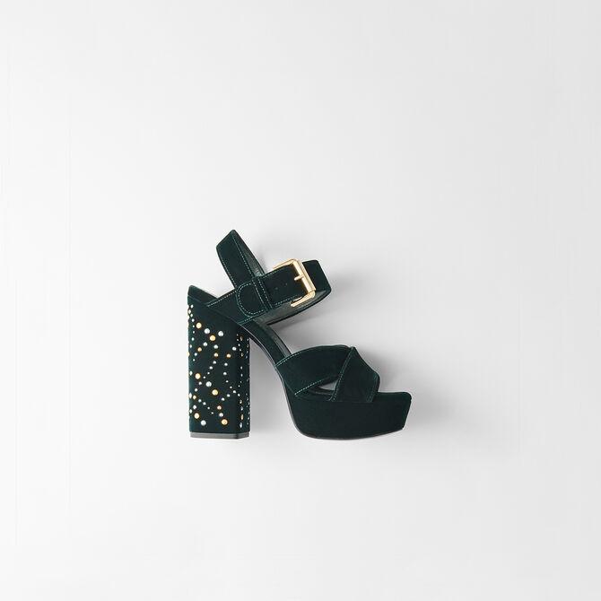 Sandalias alza de terciopelo y tachuelas -  - MAJE