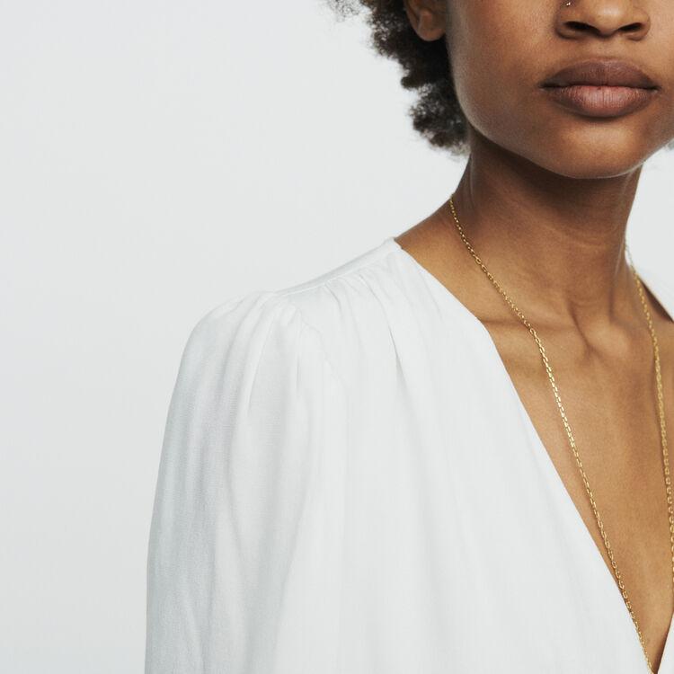 Vestido recto bimaterial : Vestidos color Blanco Roto