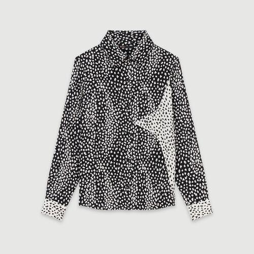 Blusa estapamdo Jaquard con parche : Colección invierno color Negro