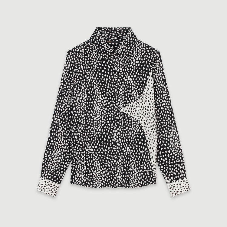 Blusa estapamdo Jaquard con parche : Tops y Camisas color Negro