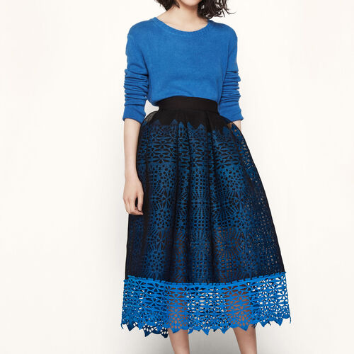 Falda de punto de abeja y guipur : Faldas y shorts color Azul