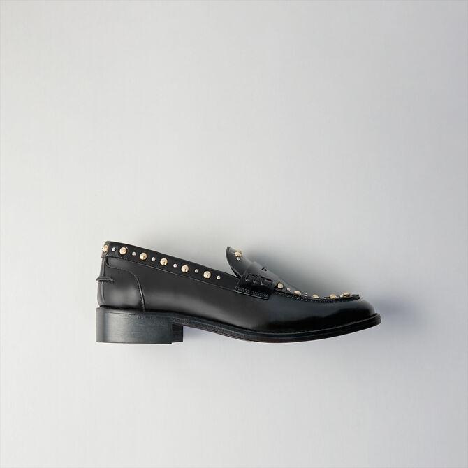 Mocasines de cuero brillante y tachuelas - Zapatos planos - MAJE