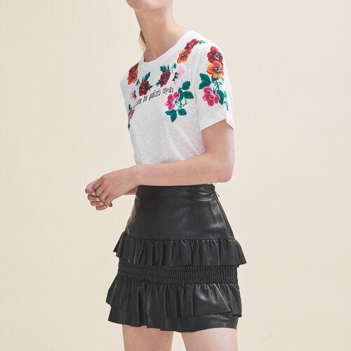 Falda de piel con volantes : Faldas y shorts color Negro