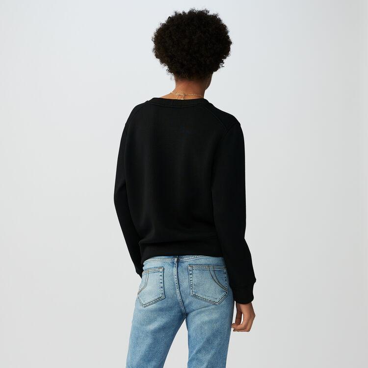 Sudadera de algodón con bordados : Malla color Negro