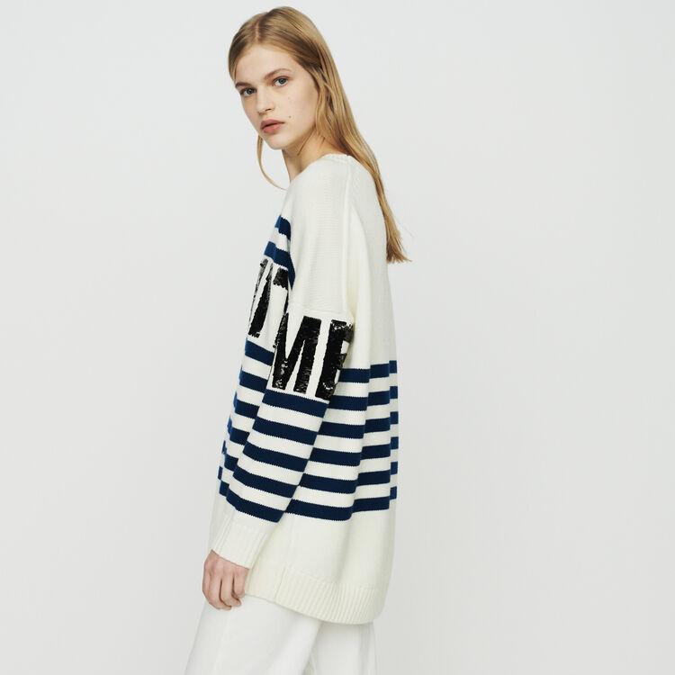 Jersey de rayas de lana mezclada : Jerseys y cárdigans color ECRU