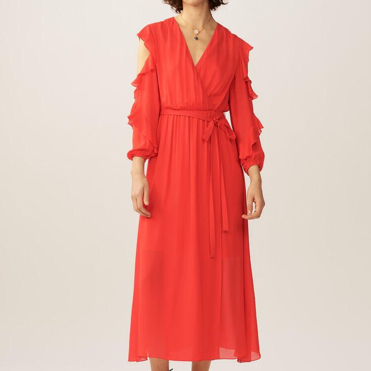 Vestido largo cruzado con detalles : Vestidos color ROUGE