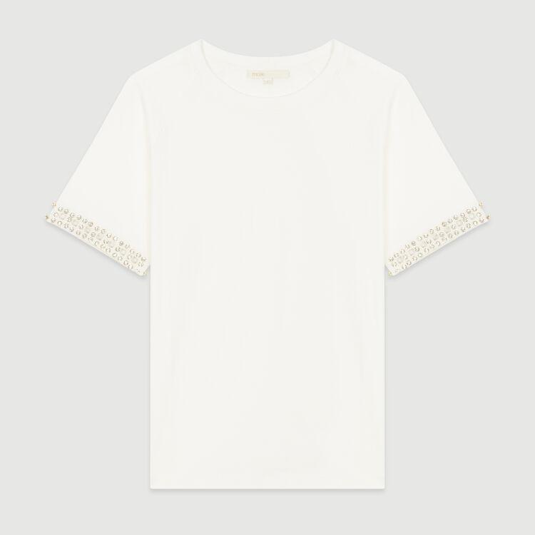 Camiseta calada con strass : T-Shirts color NEGRO