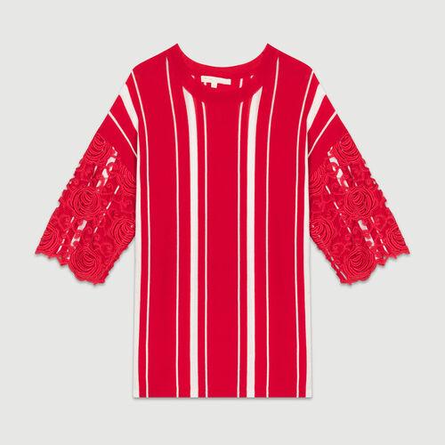 Camiseta de rayas con mangas : Malla color ROUGE